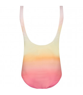 ZADIG & VOLTAIRE KIDS Multicolor girl swimsuit with white logo