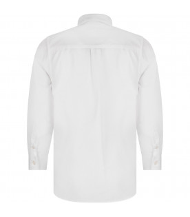 FENDI KIDS White boy shirt with iconic FF