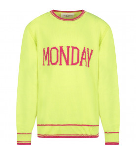 ALBERTA FERRETTI JUNIOR Yellow girl sweater with fucshia writing
