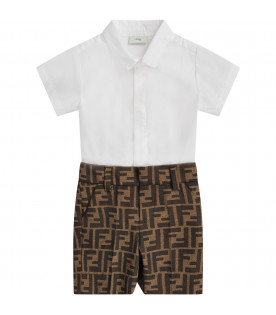 4020f4512689 FENDI KIDS White and brown babyboy babygrow with iconic double FF ...