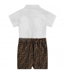 FENDI KIDS White and brown babyboy babygrow with iconic double FF