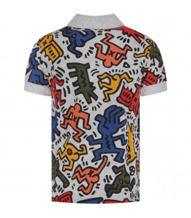 "Melanged grey boy ""Keith Hering"" polo shirt"