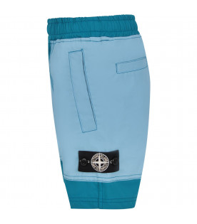 STONE ISLAND JUNIOR Teal boy short with iconic compass