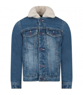 IT'S IN MY JEANS Giacca ''Berkeley'' blu per bambini con shearling