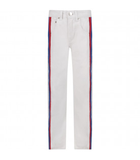 White kids ''Kylie'' jeans with red  and blue stripes