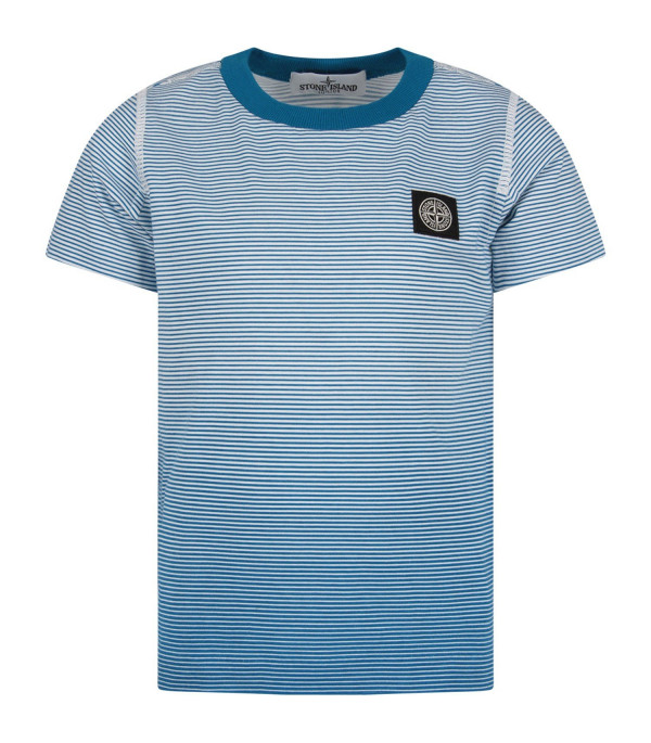 STONE ISLAND JUNIOR White and light blue boy T-shirt with iconic compass