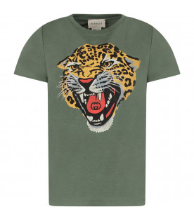 41b7689c GUCCI KIDS Green kids T-shirt with iconic tiger ...