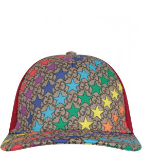 GUCCI KIDS Multicolor kids hat with iconic GG and stars