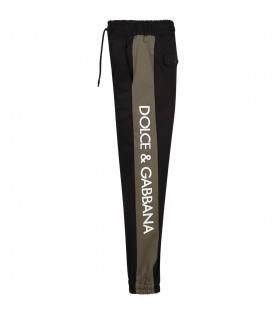 DOLCE & GABBANA KIDS Black boy pants with white logo