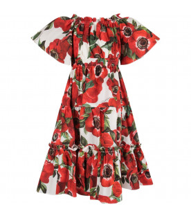 DOLCE & GABBANA KIDS White girl dress with red anemones