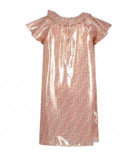 FENDI KIDS Gold girl dress with iconic double FF