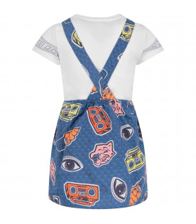 KENZO KIDS Blue girl overall with colorful iconic logos