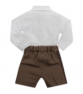 FENDI KIDS White, beige and brown babyboy babygrow with iconic double FF
