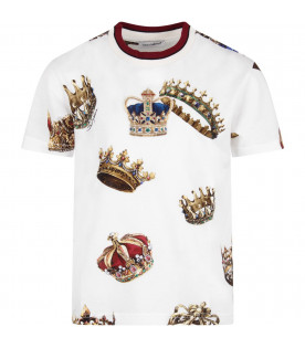 DOLCE & GABBANA KIDS White boy T-shirt with colorful crown and logo