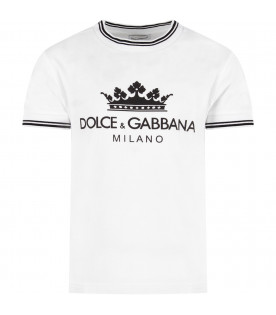 DOLCE & GABBANA KIDS White kids T-shirt with black logo