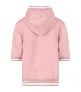DOLCE & GABBANA KIDS Pink girl sweatshirt with white logo