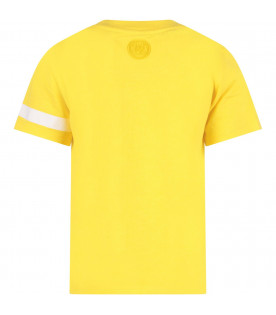 GCDS KIDS Yellow kids T-shirt with white embrioderd logo
