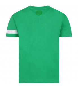 GCDS KIDS Green kids T-shirt with white embrioderd logo