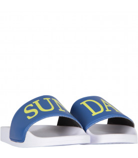 ALBERTA FERRETTI JUNIOR White and azure girl sandals with neon yellow writing