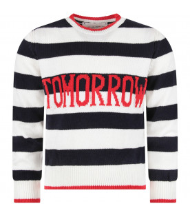 ALBERTA FERRETTI JUNIOR Blue and white girl sweater with red ''Tomorrow'' writing