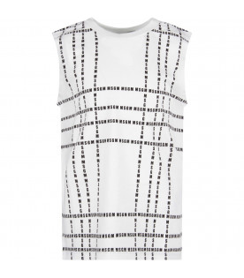 MSGM KIDS White kids tank top with black all-over logo
