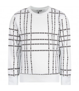 MSGM KIDS White kids sweatshirt with black all-over logo