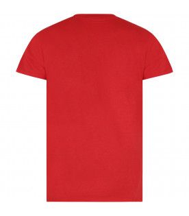 MSGM KIDS Red kids T-shirt with white logo