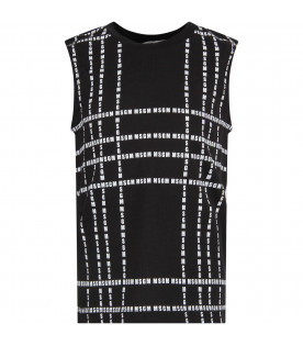MSGM KIDS Black kids tank top with white all-over logo