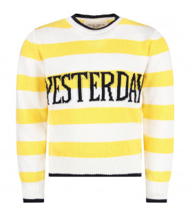 ALBERTA FERRETTI JUNIOR Yellow and white girl sweater with blue ''Yesterday'' writing
