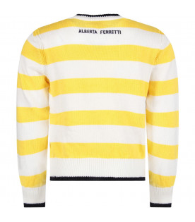 Yellow and white girl sweater with blue ''Yesterday'' writing