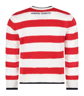 ALBERTA FERRETTI JUNIOR Red and white girl sweater with blue '' Today'' writing