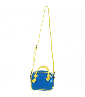 ALBERTA FERRETTI JUNIOR Azure girl bag with neon yellow ''Sunday'' writing