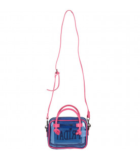ALBERTA FERRETTI JUNIOR Transparent blue girl bag with fucshia ''Friday'' writing
