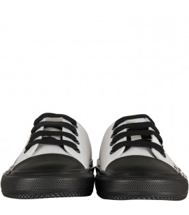 BURBERRY KIDS White and black kids sneaker with logo