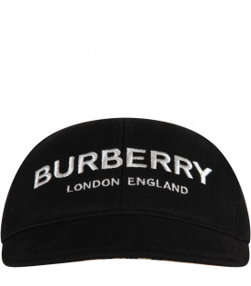 BURBERRY KIDS Black kids hat with white logo
