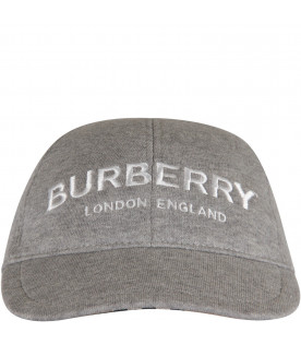 BURBERRY KIDS Grey kids hat with white logo