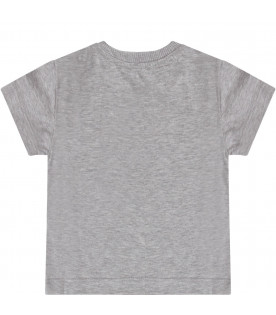 MOSCHINO KIDS Grey kids T-shirt with black dotted logo