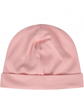 MOSCHINO KIDS Pink babygirl beanie hat with logo