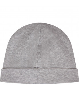 MOSCHINO KIDS Grey babykids beanie hat with logo