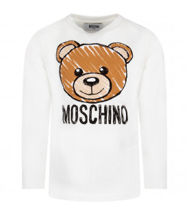 MOSCHINO KIDS White kids T-shirt with iconic Teddy Bear