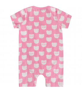 MOSCHINO KIDS Pink and white babygirl set with white Teddy Bears