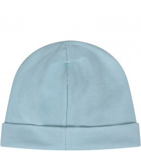 MOSCHINO KIDS Light blue babyboy beanie hat with logo