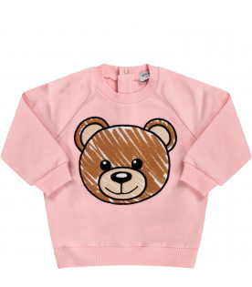 MOSCHINO KIDS Pink babygirl sweatshirt with iconic Teddy Bear