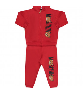 MOSCHINO KIDS Red babykids tracksuit with black logo and colorful Teddy Bears