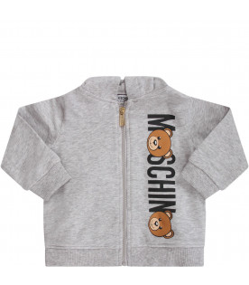 MOSCHINO KIDS Melanged grey babykids tracksuit with black logo and colorful Teddy Bears