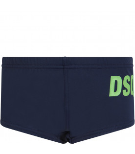 DSQUARED2 Blue boy swimming with neon green logo