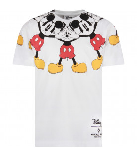 MARCELO BURLON KIDS White boy T-shirt with colorful Mickey Mouse