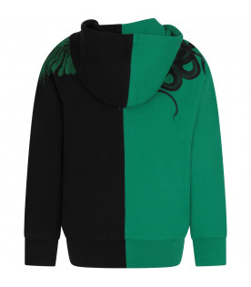 MARCELO BURLON KIDS Black and green boy sweatshirt with wings and snakes