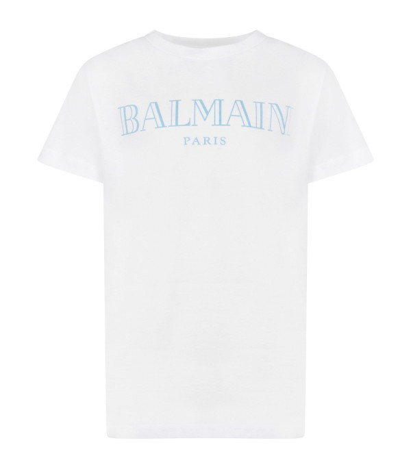 BALMAIN KIDS White kids T-shirt with light blue logo