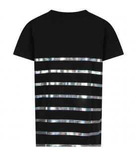 BALMAIN KIDS Black girl T-shirt with silver logo and stripes
